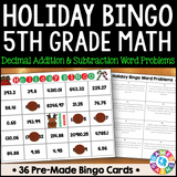 Christmas Math Bingo Game - 5th Grade - Games 4 Gains  - 1