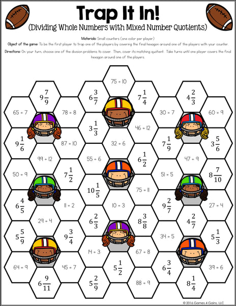 graphic about Dividing Fractions Games Printable identified as Fractions Game titles for 5th Quality