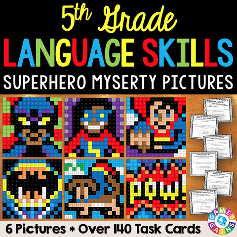 5th Grade Language Skills Superhero Mystery Pictures - Games 4 Gains  - 1
