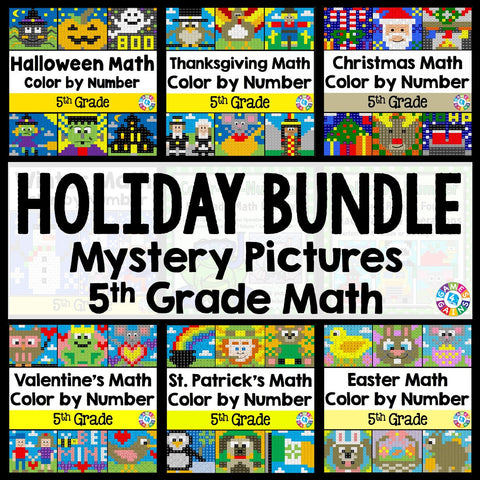 5th Grade Math Color-by-Number Holiday Bundle - Games 4 Gains