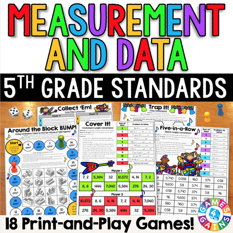 5th Grade Measurement & Data Games - Games 4 Gains  - 1