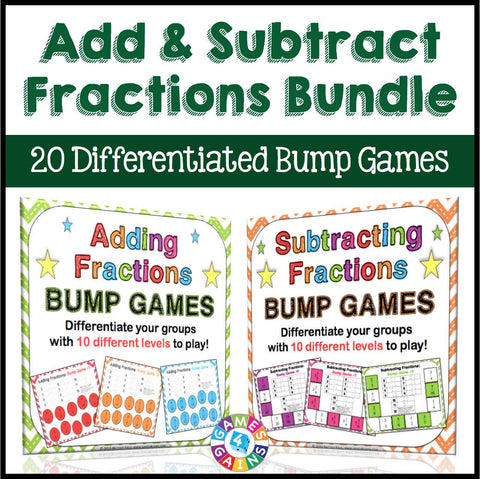 Adding and Subtracting Fractions Bump Games Bundle - Games 4 Gains