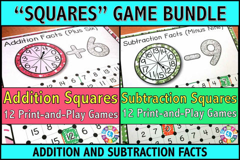 Addition and Subtraction 'Squares' Games Bundle - Games 4 Gains
