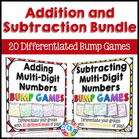 Addition and Subtraction Bump Games Bundle - Games 4 Gains