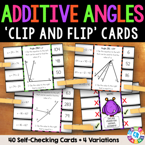 Additive Angles 'Clip and Flip' Cards - Games 4 Gains  - 1