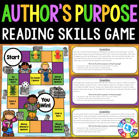 Author's Purpose Board Game - Games 4 Gains  - 1