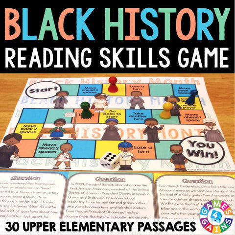 Black History Month Reading Comprehension Board Game - Games 4 Gains  - 1