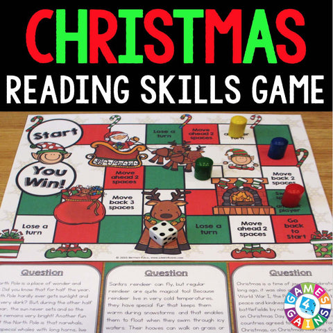 Christmas Reading Comprehension Board Game - Games 4 Gains  - 1