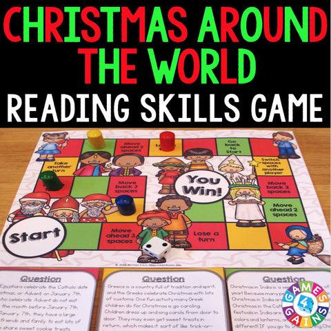 Christmas Around the World Reading Comprehension Board Game - Games 4 Gains