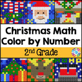 Christmas Math Color-by-Number - 2nd Grade - Games 4 Gains  - 1