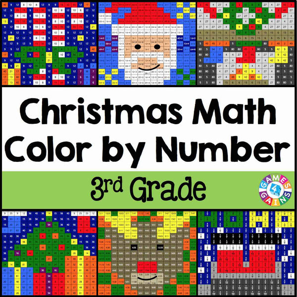 Christmas Math Color By Number 3rd Grade Games 4 Gains