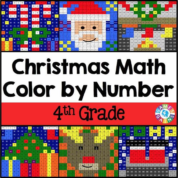 Christmas Math Color-by-Number - 4th Grade u2013 Games 4 Gains