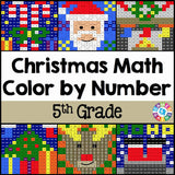 Christmas Math Color-by-Number - 5th Grade - Games 4 Gains  - 1
