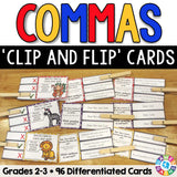 Commas 'Clip and Flip' Cards - Grades 2-3 - Games 4 Gains  - 1