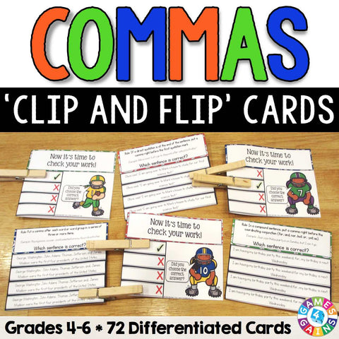 Commas 'Clip and Flip' Cards - Grades 4-6 - Games 4 Gains  - 1