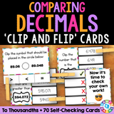 Comparing Decimals 'Clip and Flip' Cards - Games 4 Gains  - 1
