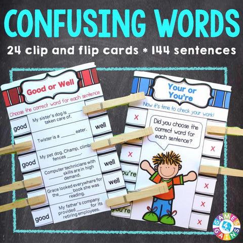 Confusing Words 'Clip and Flip' Cards - Games 4 Gains  - 1