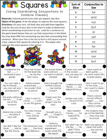 Conjunctions Games Games 4 Gains