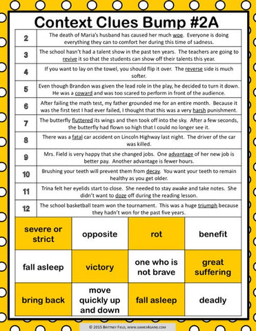Clues Scoot 1 ~ 36 Task Cards and Boom Cards Grades 2-4 Tier 2 Vocab