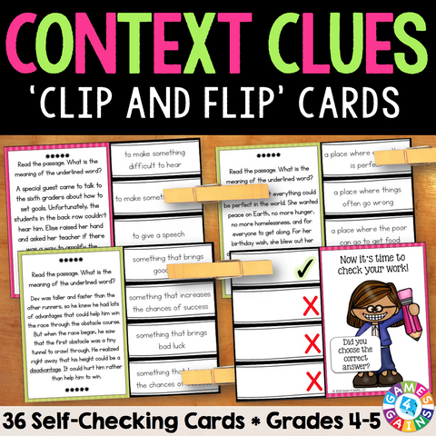 Context Clues 'Clip and Flip' Cards (Grade 4-5) - Games 4 Gains  - 1