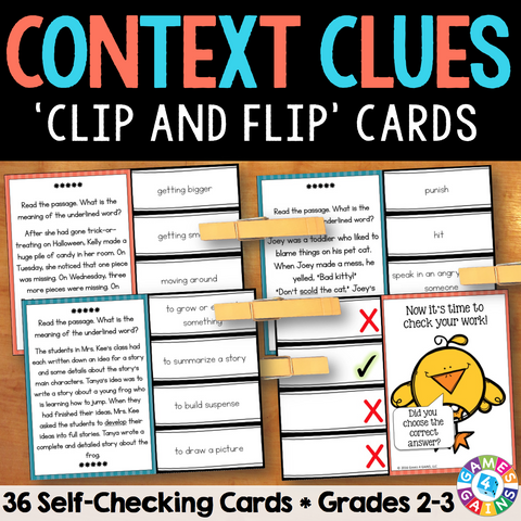 Context Clues 'Clip and Flip' Cards (Grade 2-3) - Games 4 Gains