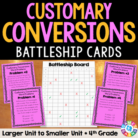 Customary Measurement Conversions Battleship (4th Grade) - Games 4 Gains  - 1