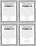 Customary Measurement Conversions Multi-Step Word Problems Cards - Games 4 Gains  - 2