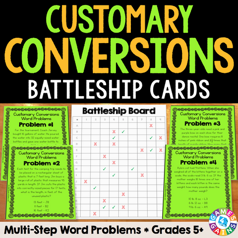 Customary Measurement Conversions Multi-Step Word Problems Cards - Games 4 Gains  - 1