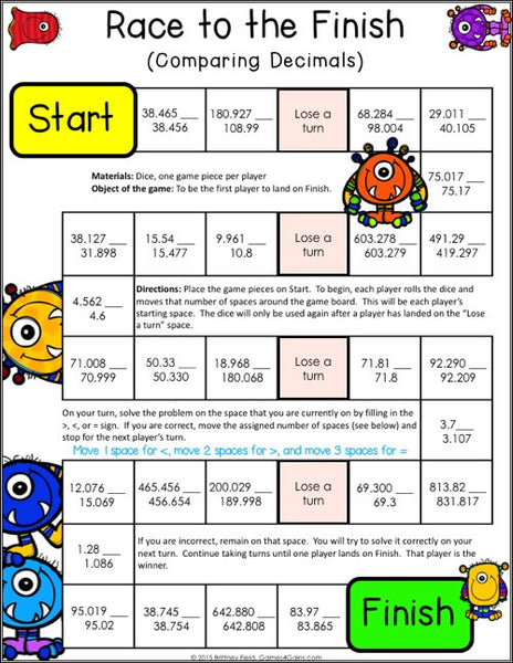 image about 5th Grade Printable Math Games identified as Decimals Game titles for 5th Quality