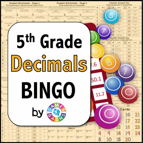 Decimals Bingo Game - Games 4 Gains  - 1