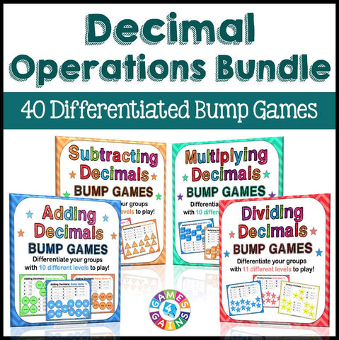 Decimal Operations Bump Games Bundle - Games 4 Gains