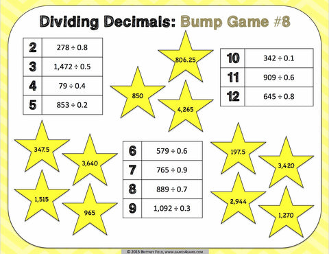 Dividing Decimals Bump Games – Games 4 Gains