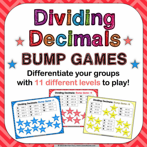 Dividing Decimals Bump Games - Games 4 Gains  - 1