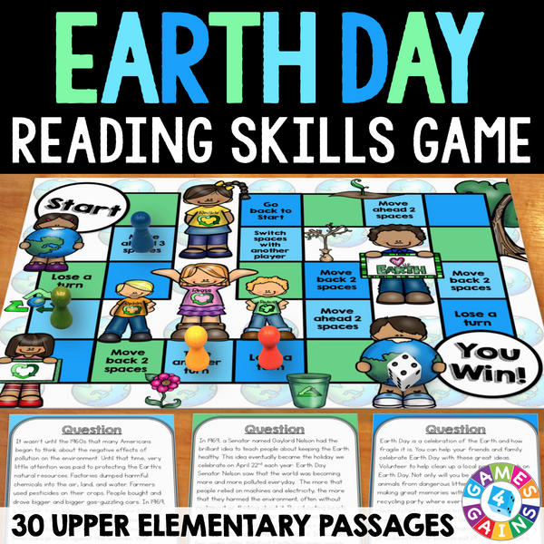 Shared Board Cause To Pause: Earth Day Reading Comprehension Board Game
