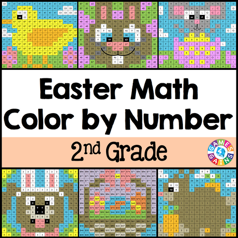 Easter Math Color-by-Number - 2nd Grade - Games 4 Gains  - 1