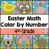 Easter Math Color-by-Number - 4th Grade - Games 4 Gains  - 1