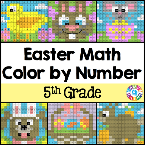 Easter Math Color-by-Number - 5th Grade - Games 4 Gains  - 1
