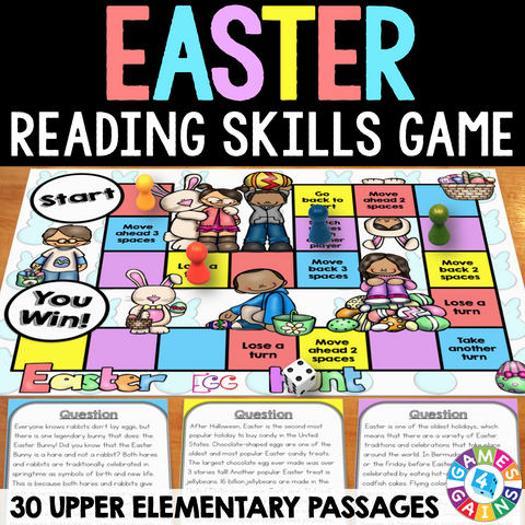 Easter Reading Comprehension Board Game - Games 4 Gains  - 1