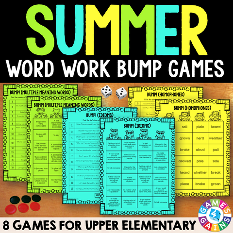 Summer Word Work Bump Games - Games 4 Gains  - 1