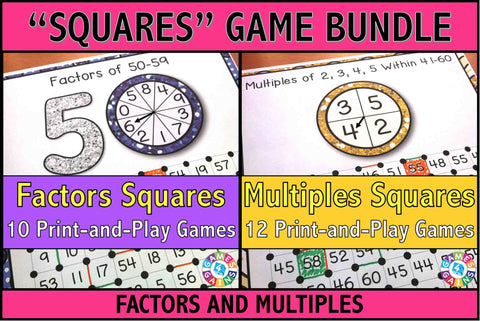 Factors and Multiples 'Squares' Games Bundle - Games 4 Gains