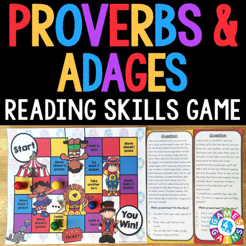 Proverbs and Adages Board Game - Games 4 Gains  - 1