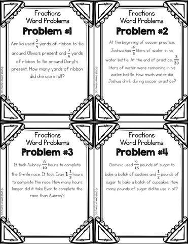 Fraction Word Problems Picture Puzzle
