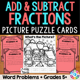 Fraction Word Problems Picture Puzzle - Games 4 Gains  - 1