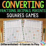 Fractions, Decimals, and Percents 'Squares' Game - Games 4 Gains  - 1