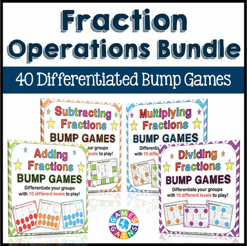 Fractions Operations Bump Games Bundle - Games 4 Gains