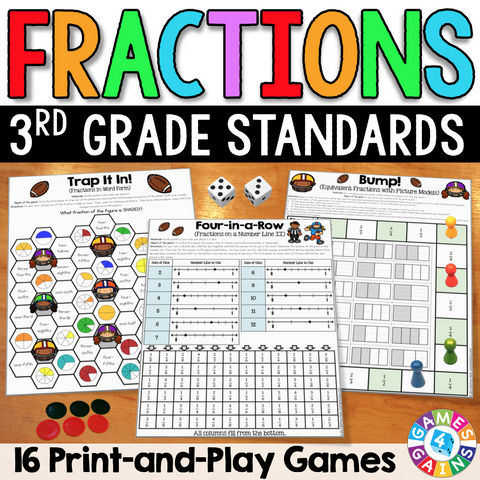 Fractions Games for 3rd Grade - Games 4 Gains