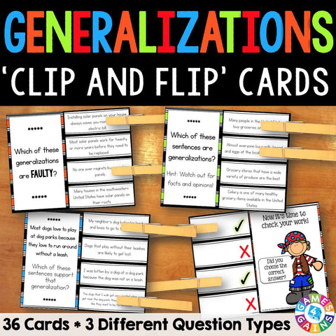 Generalizations 'Clip and Flip' Cards - Games 4 Gains  - 1