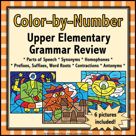 Grammar Review Color-by-Number - Games 4 Gains  - 1