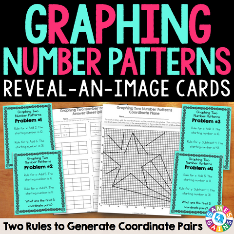 "Graphing Two Number Patterns ""Reveal-an-Image"" Task Cards - Games 4 Gains  - 1"