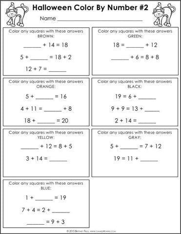 unknown color by number coloring pages | Halloween Math Color-by-Number - 2nd Grade – Games 4 Gains